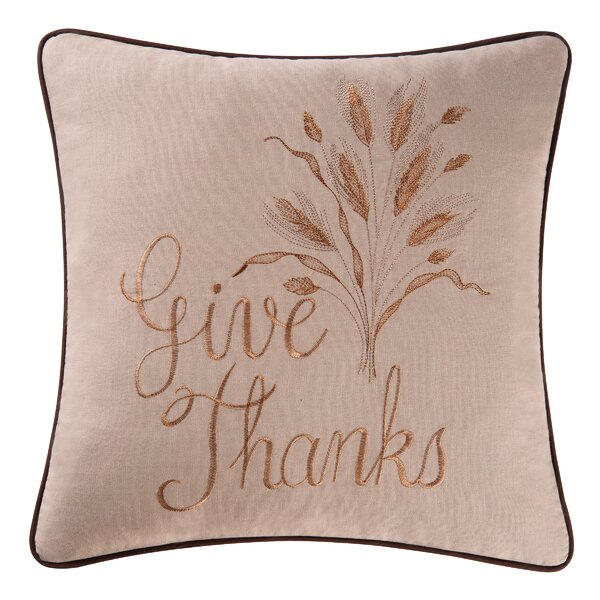 Give Thanks 100% Cotton Throw Pillow by C&F Home